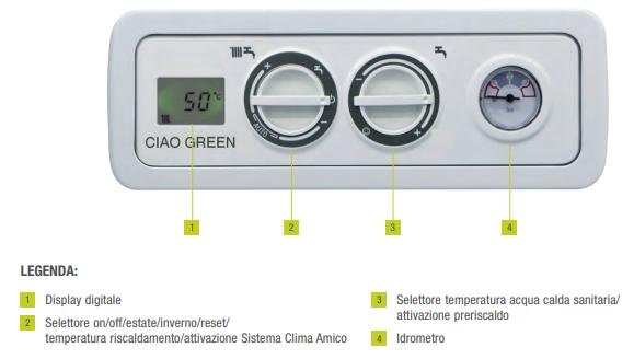 pannello comandi caldaia a condensazione beretta green