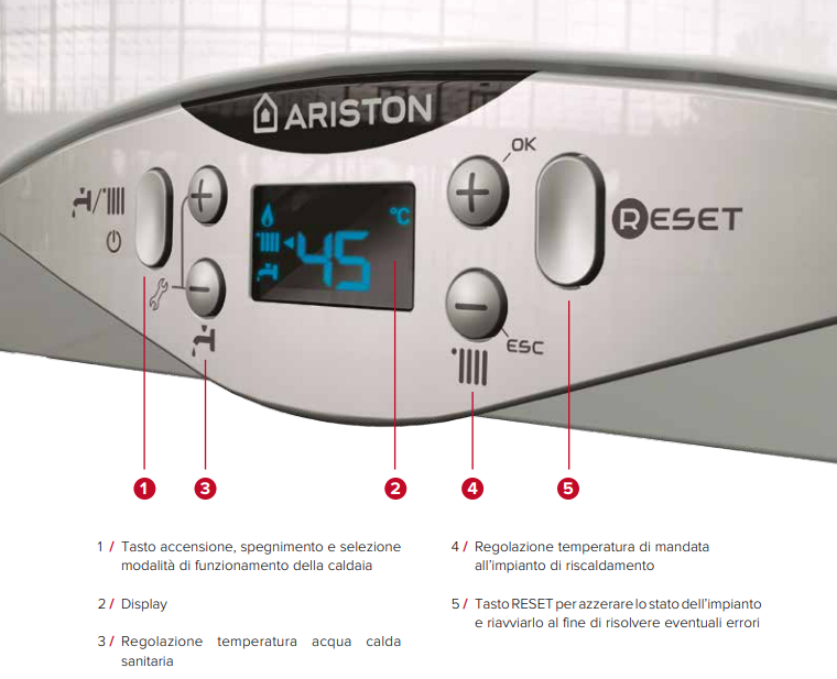 caldaia ariston Cares Premium a condensazione vendita ingrosso a roma quadro comandi display