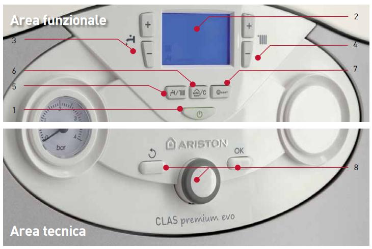caldaia ariston clas premium evo a condensazione vendita ingrosso a roma pannello comandi