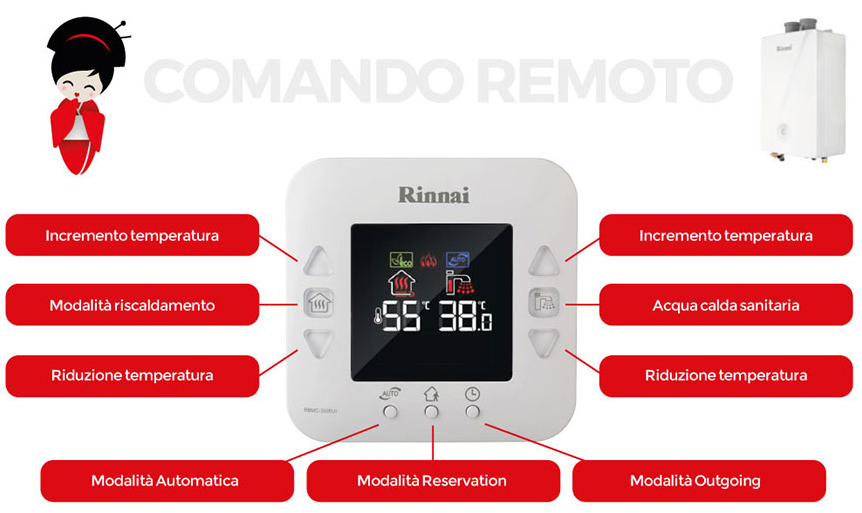Caldaia Rinnai Mirai 24 kw a condensazione comando remoto