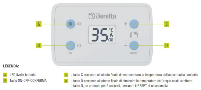 Scaldabagno a gas Beretta Fonte LX 11 litri pannello comandi